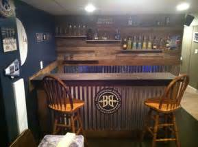 Steel Home Bar Pallet Wood And Corrugated Steel Bar Home