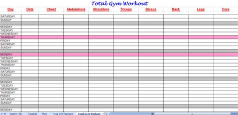 workout chart template total workout plan spreadsheet