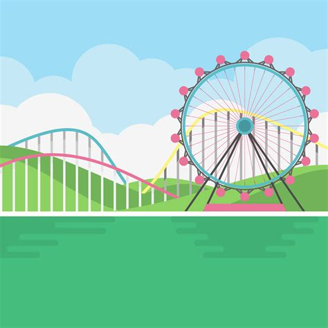 theme park vector amusement park scenery illustration download free vector