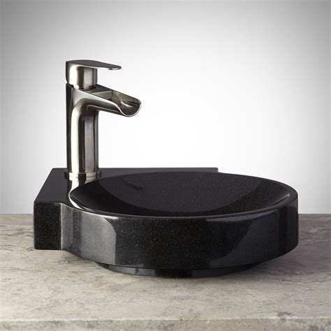 black granite vessel bathroom black granite sink signature hardware