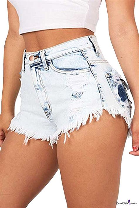 Destroy High Waist Hw Wanita s high waist washed ripped destroyed denim shorts beautifulhalo