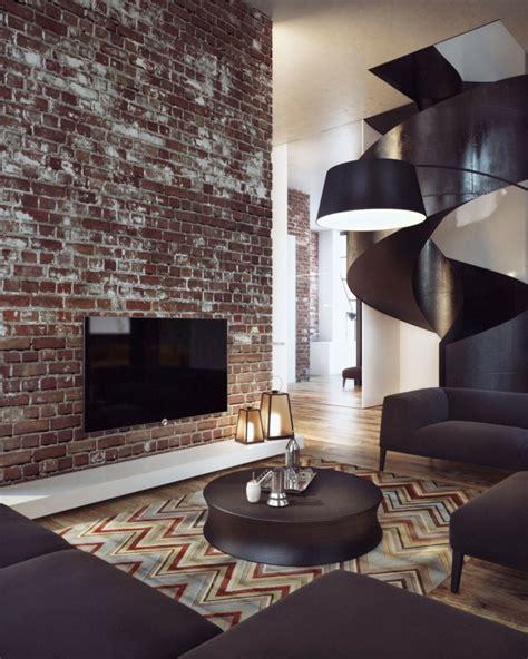 klinkerwand wohnzimmer moderne klinker wandgestaltung ein penthouse in kiew