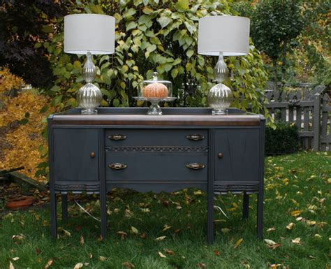 vintage charcoal gray waterfall buffet apartment therapy