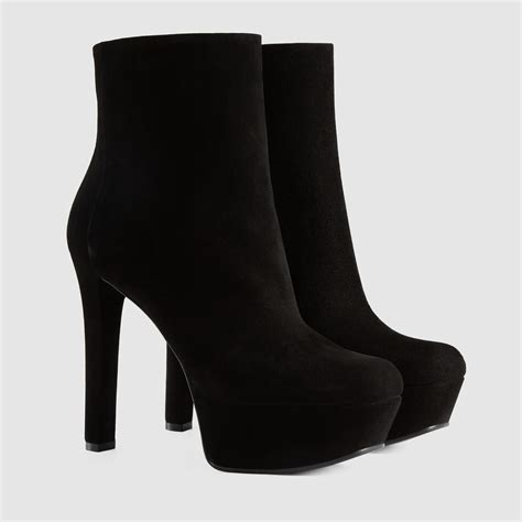 gucci leila suede platform ankle boot in black lyst