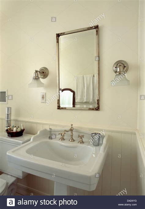 bathroom mirror side lights glass shades on chrome wall lights on either side of