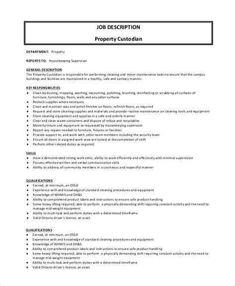 sle custodian description 8 exles in pdf word