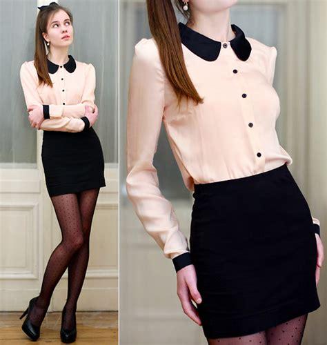 Collar Dress Midi Black Greybaju Blouse Wanita ariadna majewska embis black pumps samoa pastel shirt