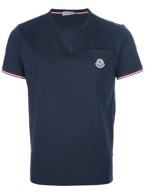 t shirt lyst moncler logo pocket tshirt in blue for men