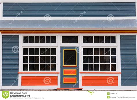 Symmetrical House Plans Small Store Front Entrance Colorful Wooden House Royalty