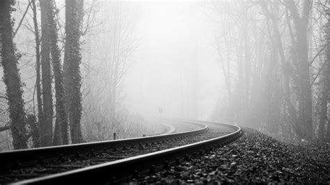 wallpaper  rails railway fog turn