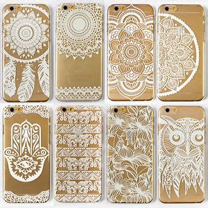 Pattern Flower 0859 Casing For Iphone 7 Hardcase 2d henna white floral paisley flower back pattern clear cover for iphone ebay