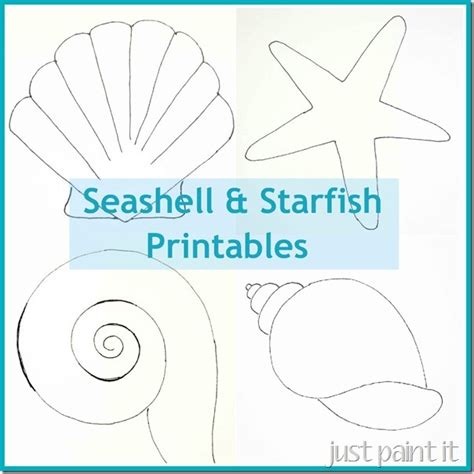 printable seashell stencils seashell and starfish pattern printables just paint it blog