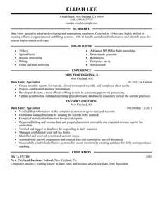 best data entry resume exle livecareer