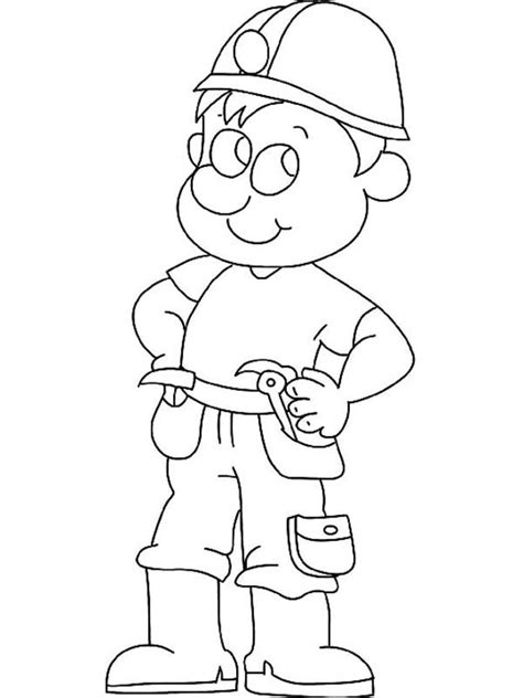 construction worker coloring page for kids sun sketch template