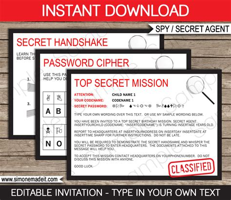 printable spy id cards spy party invitations template birthday party