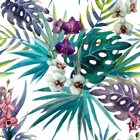 watercolor leaf pattern orchid hibiscus leaves watercolour tropics custom wallpaper
