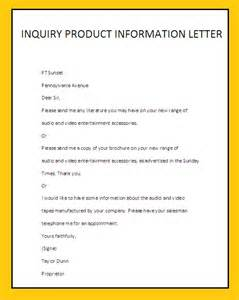 Inquiry Letter Information Inquiry Product Information Letterbusiness Letter Exles Business Letter Exles
