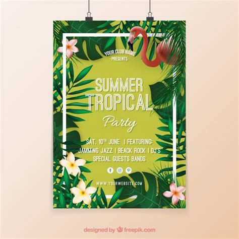 tropical party poster with flowers and flamenco vector