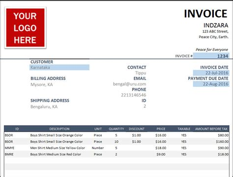 25 free invoice template professional and simple documents