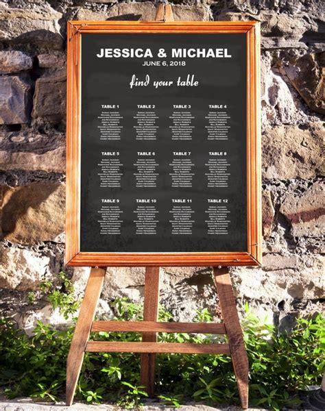 wedding seating chart template chalkboard rustic