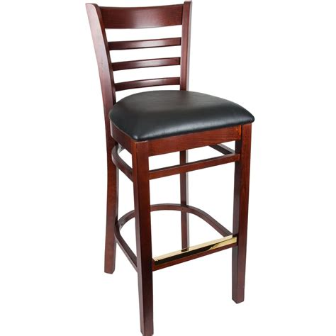 restaurant bar stools with backs lancaster table seating mahogany ladder back bar height