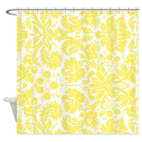 Yellow And White Curtains Yellow White Damask Shower Curtain By Dreamingmindcards