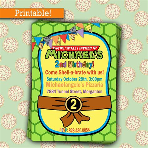 turtle birthday card template printable mutant turtles birthday