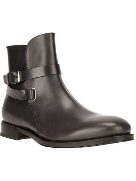ferragamo boots for ferragamo buckled ankle boot in black for lyst