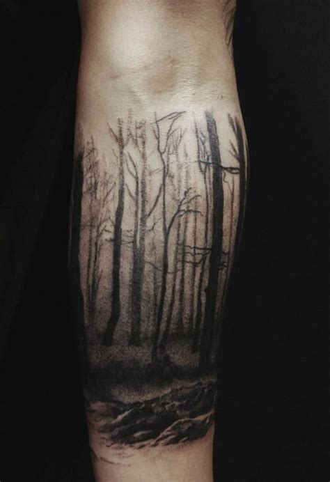 dark forest tattoo designs ink flying birds and forest tree on leg
