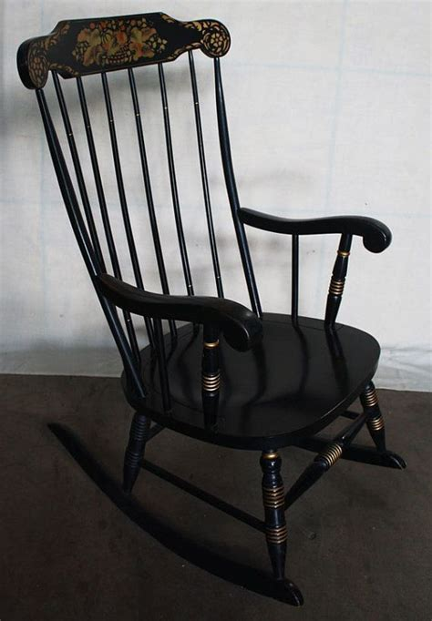 ethan allen hitchcock rocking chair vintage black hitchcock rocker rocking chair by