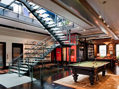 modern home design games mansion loft gaming living space glass staircase