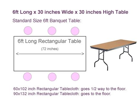 standard rectangle table size what size tablecloth for 6ft rectangular table