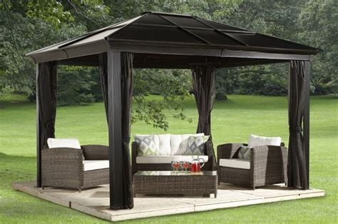 10x12 gazebo privacy curtain sedona hard top gazebos collections sojag