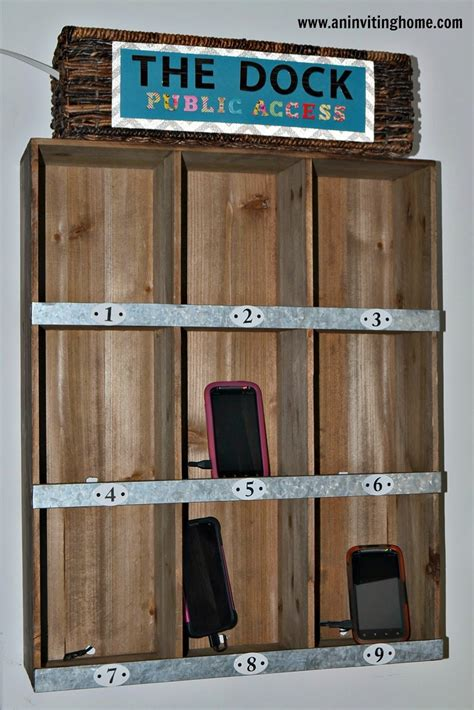 Wall Mounted Charging Station Organizer by An Inviting Home A Semi Diy Charging Station