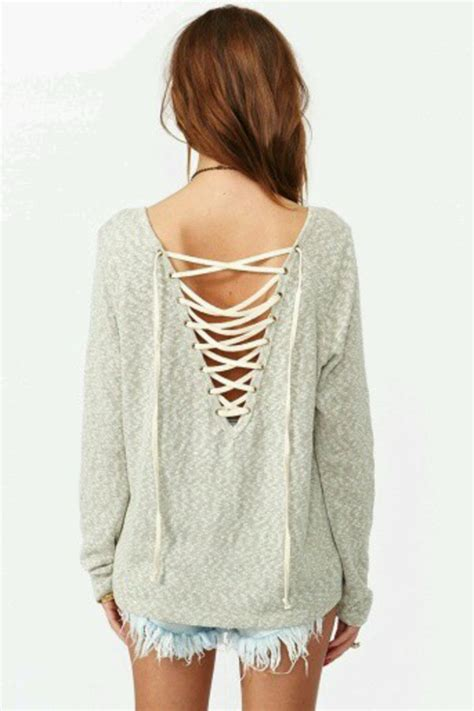 Grey Lace Up Blouse Le Rosetz free back interest lace up pullover