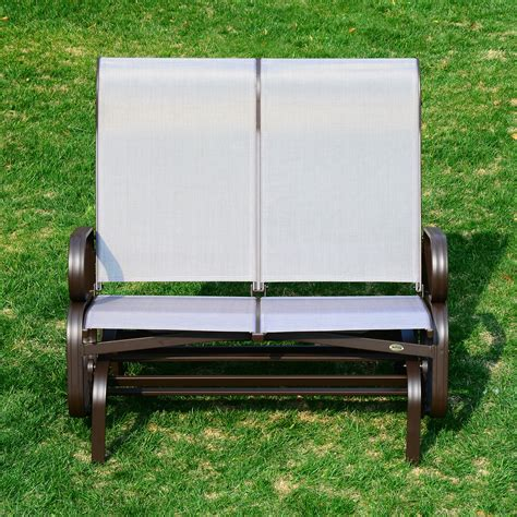 patio rocking bench outsunny double seat glider garden bench outdoor rocking