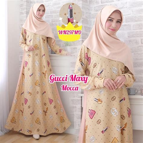 Harga Rok Gucci gamis scuba motif gucci baju muslim murah butik jingga