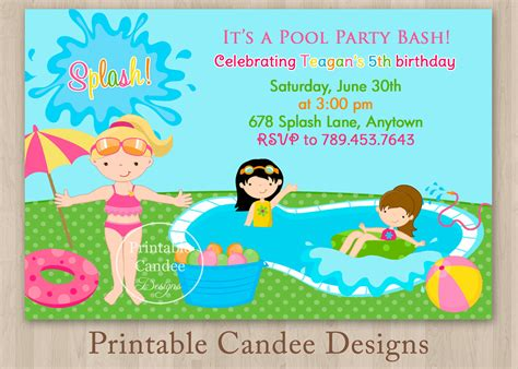 printable invitations pool party pool party invitations for kids free printable pool