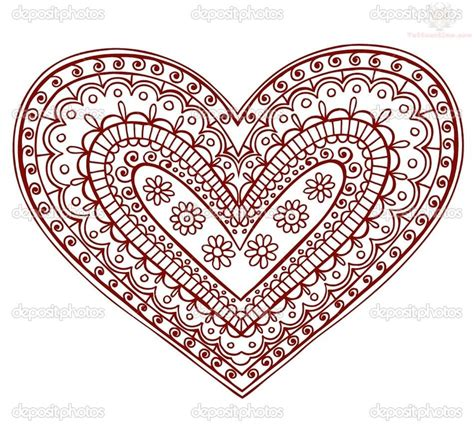 henna tattoo designs heart paisley pattern design