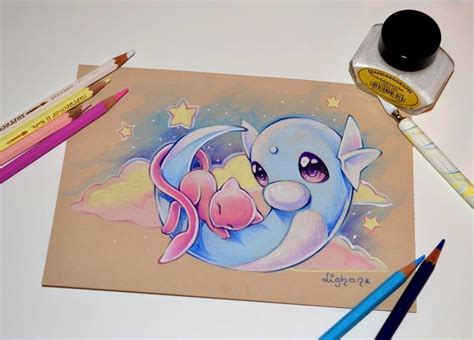 shiny mew color pencil by artstation dratini mew pok 233 mon colored pencil