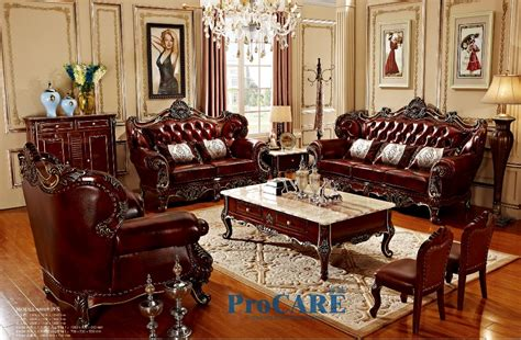 3 Different Sets Red Solid Wood Genuine Leather Sofas Set Genuine Leather Living Room Sets