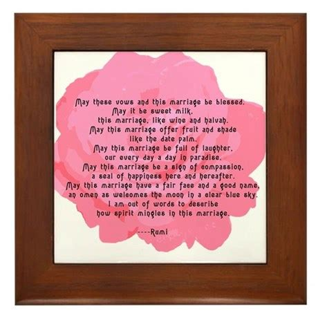 Wedding Blessing Cofe by Rumi Poem Wedding Blessing Framed Tile By Scarebaby