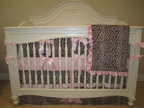 Leopard Crib Bedding Set Pink Leopard Baby Bedding 4 Set