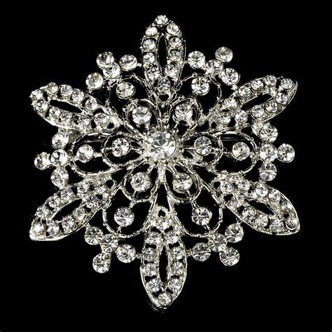 Rhinestone Snowflake Brooch silver rhinestone winter wedding snowflake bridal brooch