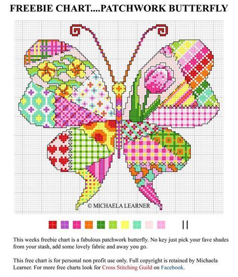 Patchwork Butterfly - patchwork cross stitch butterfly cross stitch