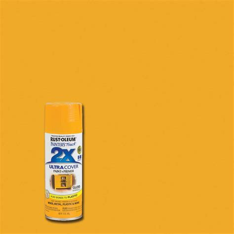 rust oleum painter s touch 2x 12 oz gloss marigold general purpose spray paint 249862 the