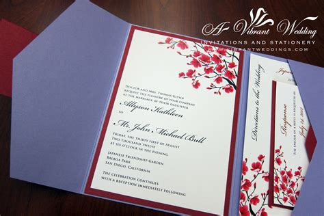 wedding invitation design red motif customer review lavender and red cherry blossoms design