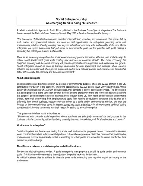 social entrepreneurship thesis social entrepreneurship essay by thierry alban revert