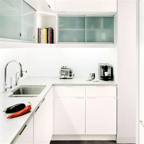 White Kitchen Ideas For Small Kitchens by All White L Shaped Fitted Kitchen