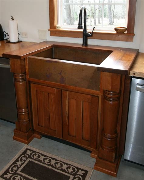 farmhouse sink cabinet ideas handmade cherry sink cabinet with walnut top and